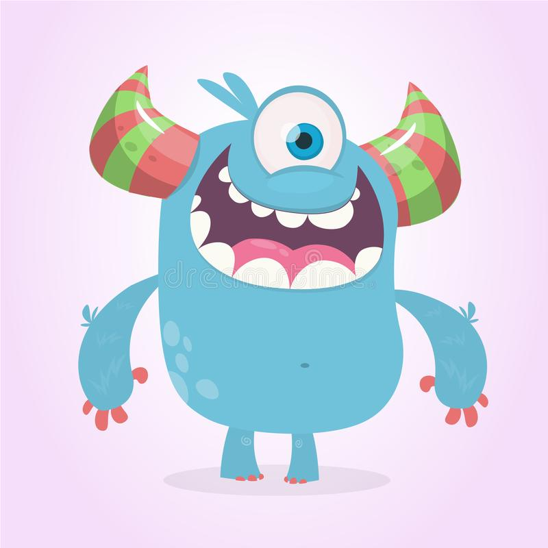 Cute cartoon monster with horns with one eye. Smiling monster emotion with big mouth. Halloween vector illustration. royalty free illustration
