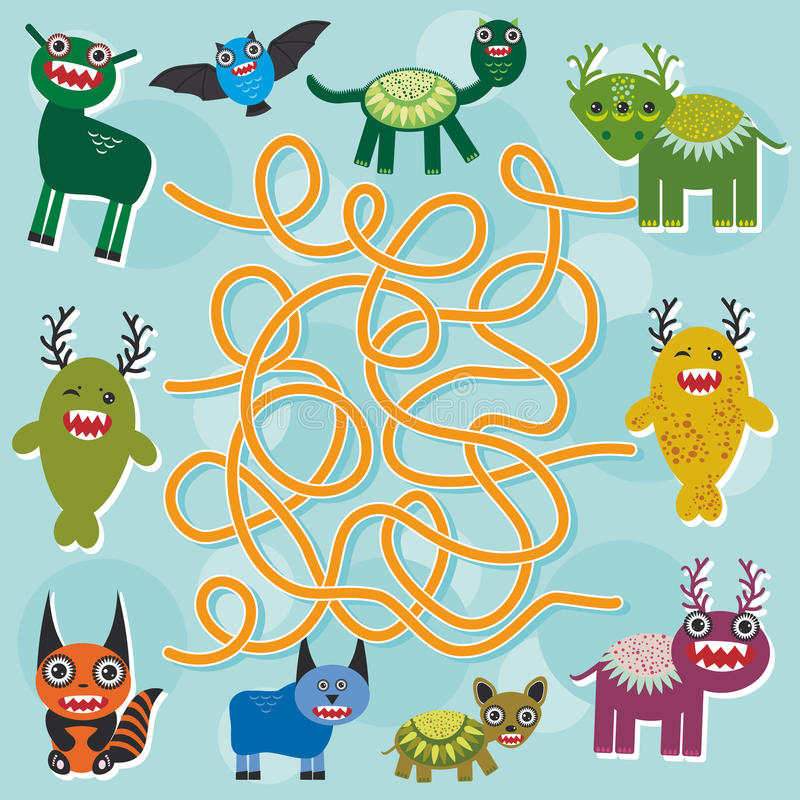 Cute cartoon Monster labyrinth game for Preschool Children. Vector vector illustration