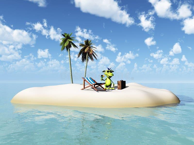 Cute cartoon monster taking vacation on island. stock illustration