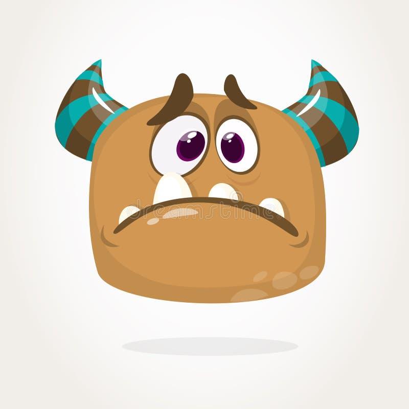 Cute cartoon monster. Upset flying monster emotion. Halloween vector illustration. vector illustration