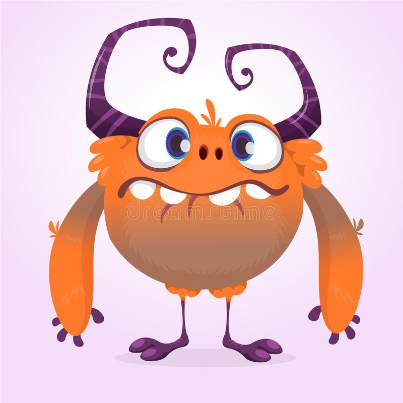 Cute cartoon monster. Vector furry orange monster character with tiny legs and big horns. Halloween design. Cute cartoon monster. Vector furry orange monster vector illustration