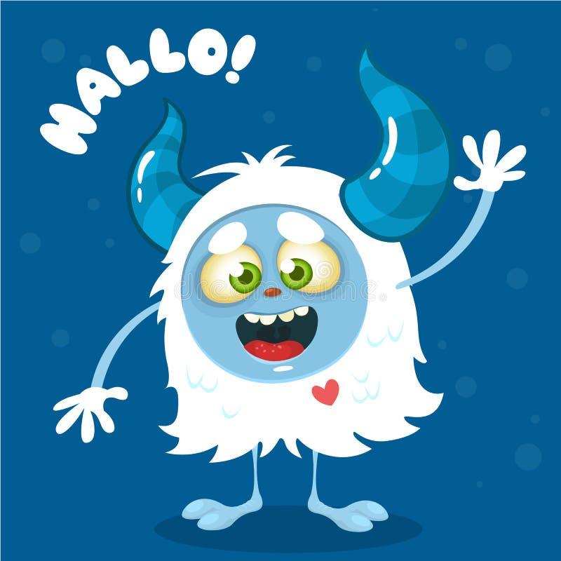 Cute cartoon monster. Vector Halloween bigfoot character waving vector illustration
