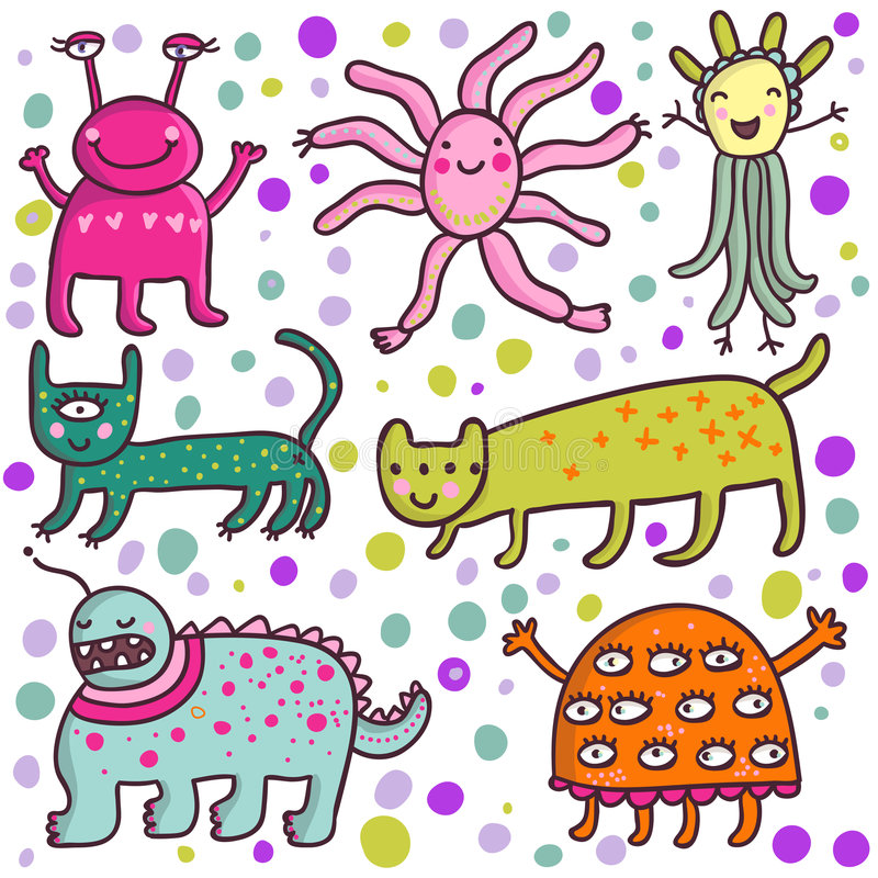 Cute cartoon monsters stock images