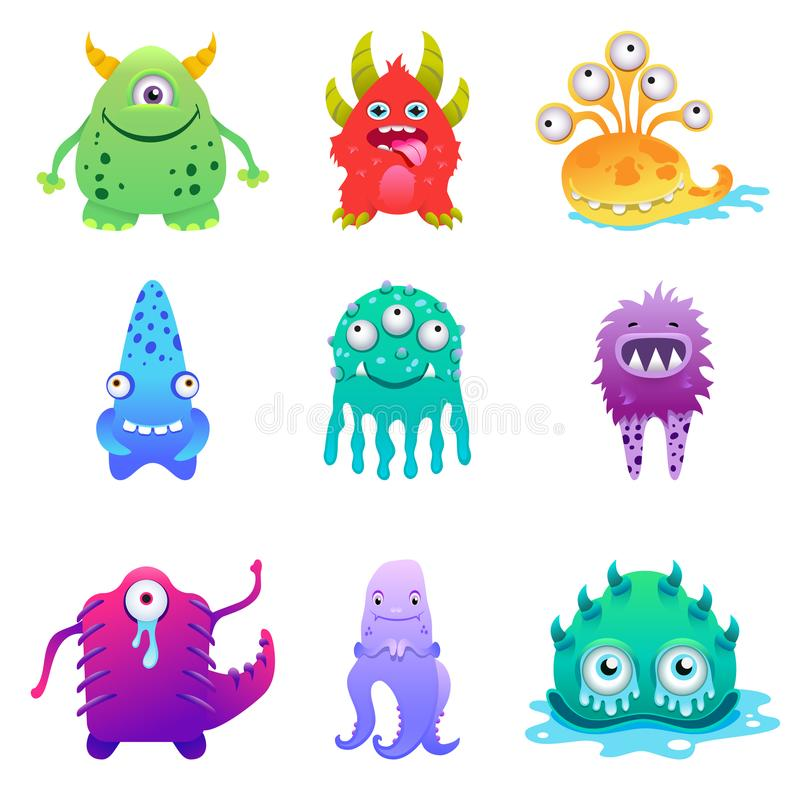 Cute cartoon monsters alien characte set vector illustration vector illustration