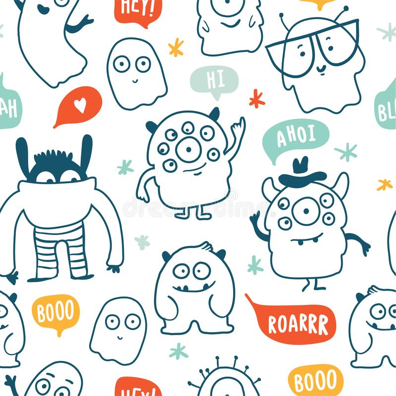 Cute monsters doodles seamless pattern vector illustration