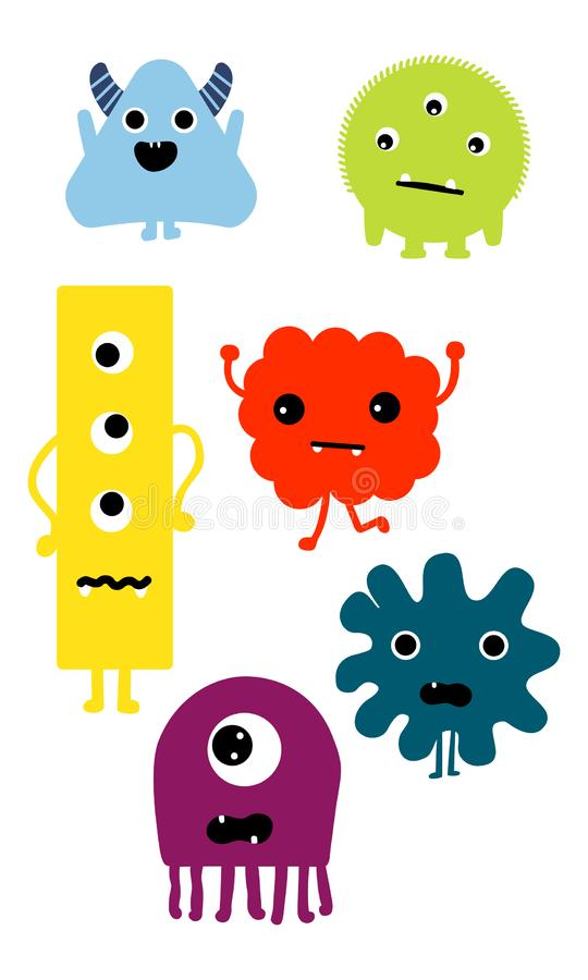 Cute Cartoon Monsters illustration. Flat vector collection. vector illustration