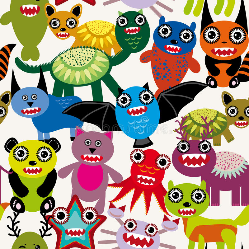 Cute cartoon Monsters seamless pattern on a white background. stock illustration