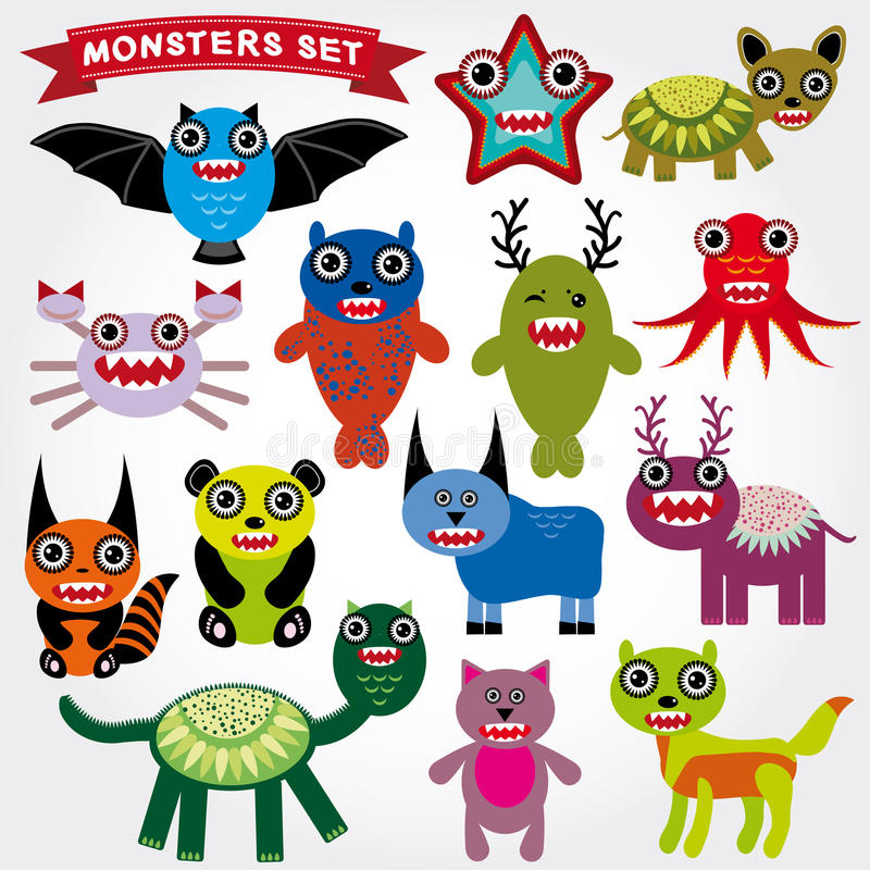 Cute cartoon Monsters Set. Big collection on a white background. vector illustration