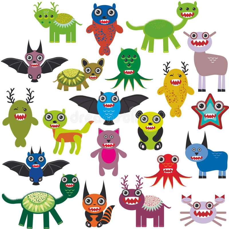 Cute cartoon Monsters Set. Big collection on white background. Vector vector illustration