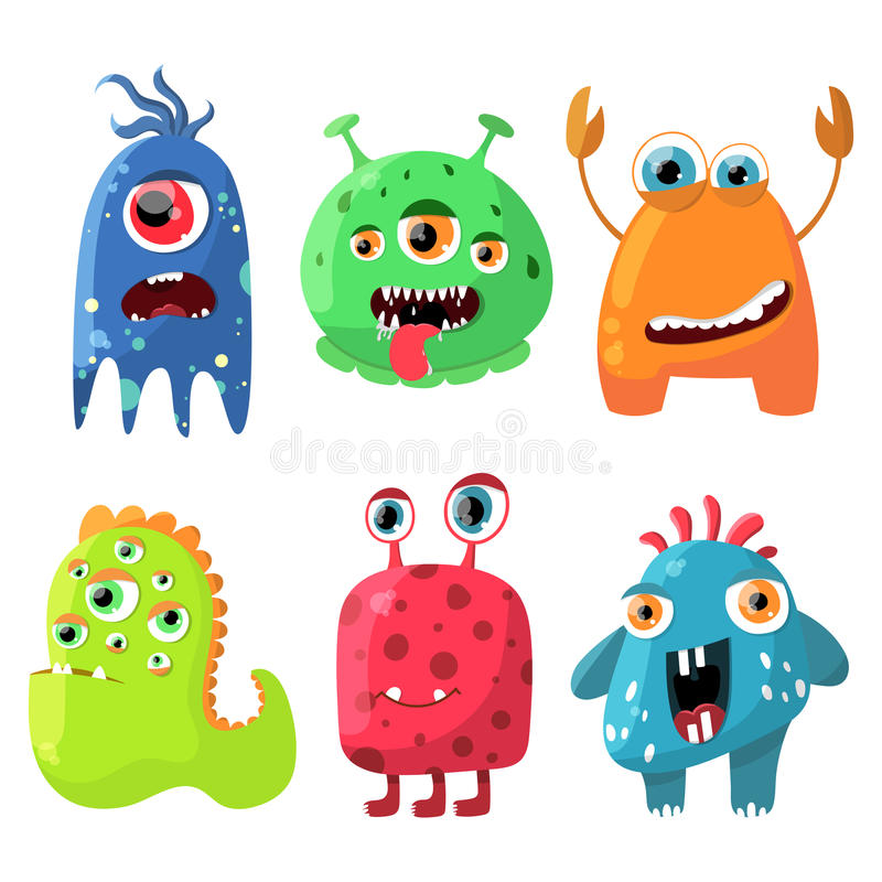 Cute cartoon monsters set. Collection for any design, card, poster, invitation. Vector illustration. stock illustration
