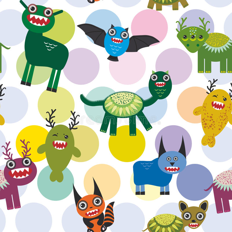 Cute cartoon Monsters Set. seamless pattern on white background. Vector royalty free illustration