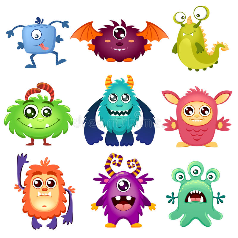 Cute cartoon monsters royalty free illustration
