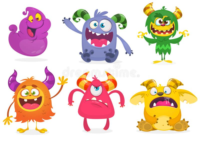 Cute cartoon Monsters. Vector set of cartoon monsters: ghost, goblin, bigfoot yeti, troll and alien and gremlin. Halloween characters isolated stock illustration
