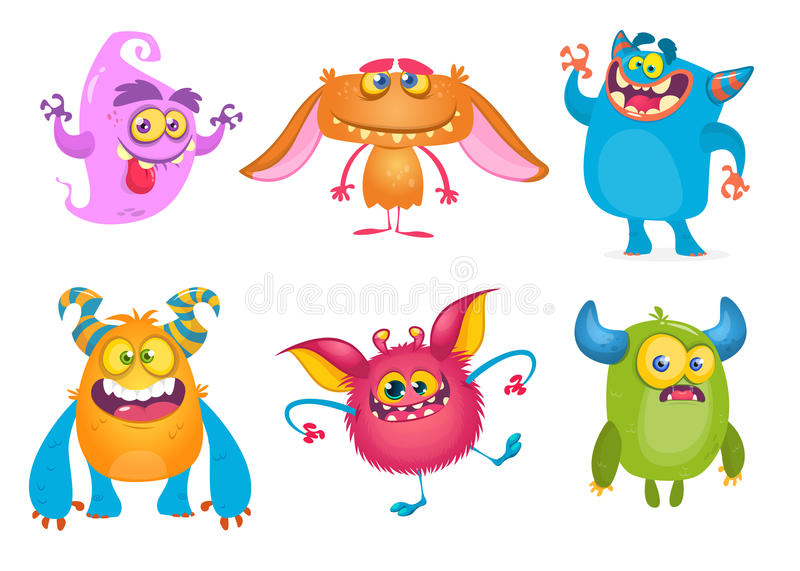 Cute cartoon Monsters. Vector set of cartoon monsters: ghost, goblin, bigfoot yeti, troll and alien. Halloween characters isolated.  vector illustration
