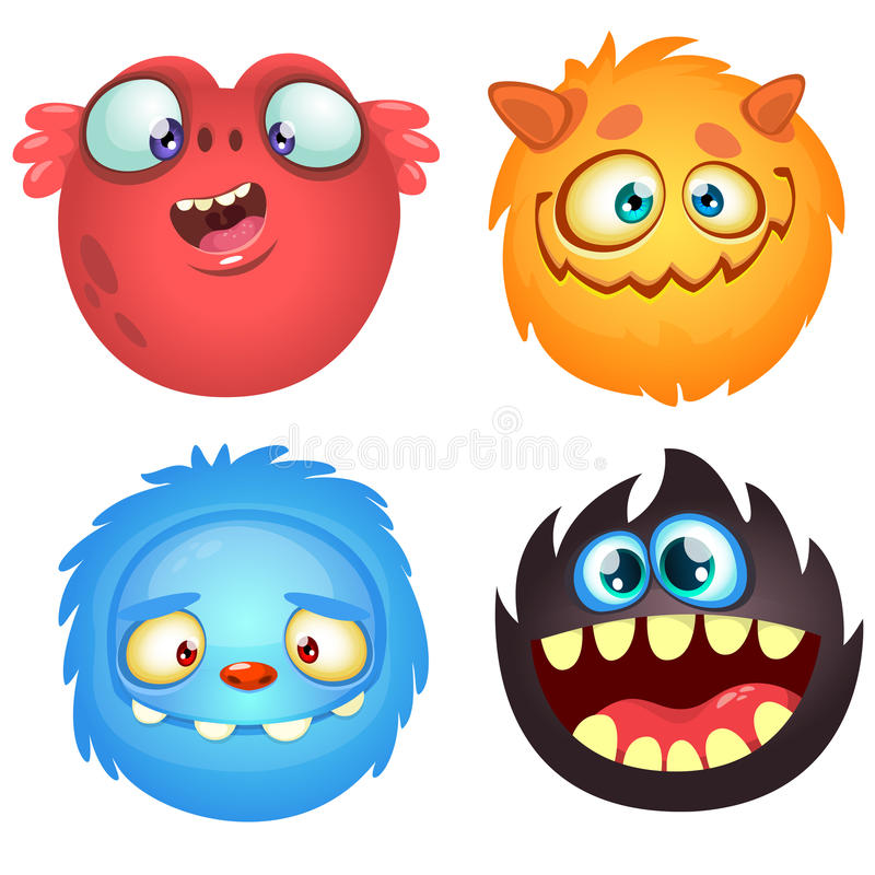 Cute cartoon monsters. Vector set of 4 Halloween monster icons. stock illustration
