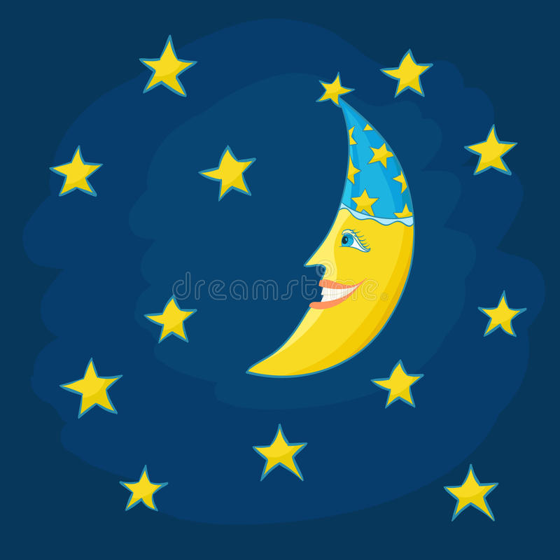 Cute Cartoon Moon Character And Stars In The Night Sky