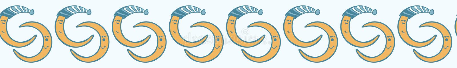 Cute cartoon moon with hat and happy smiling face stock illustration