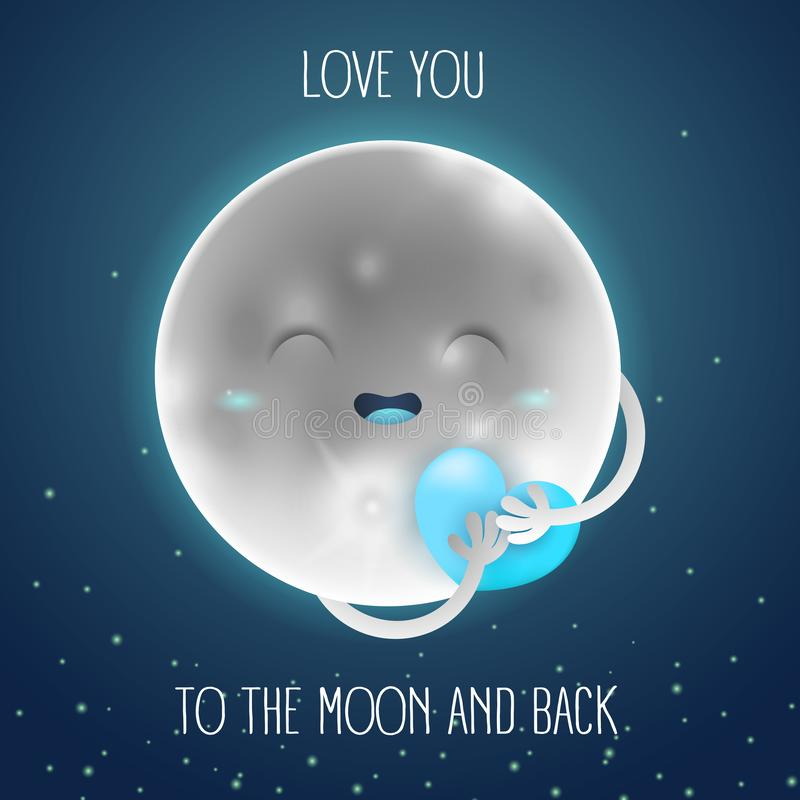 Cute cartoon moon in the night sky with a blue heart. Inscription love you to the moon and back vector illustration