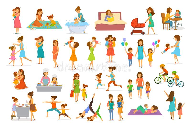 Cute cartoon mother and children isolated vector illustration scenes set, mom with daughter son kids vector illustration