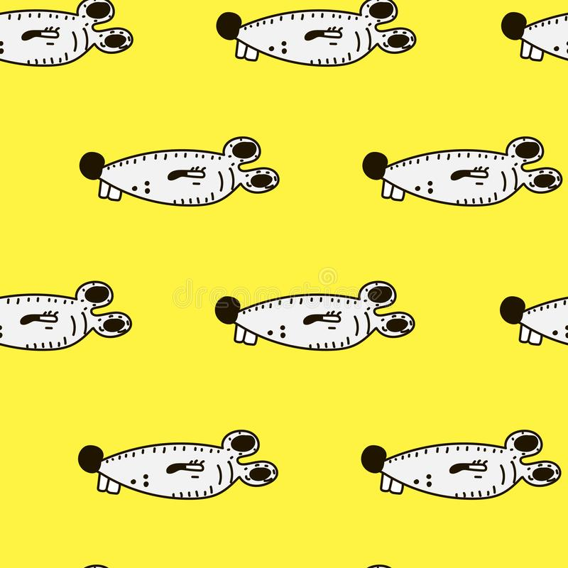 Cute cartoon mouse and cheese seamless pattern on yellow background royalty free illustration