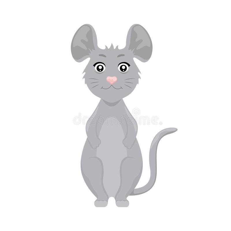 Cute cartoon mouse. Symbol of 2020. Vector Merry Christmas and Happy New Year illustration royalty free illustration