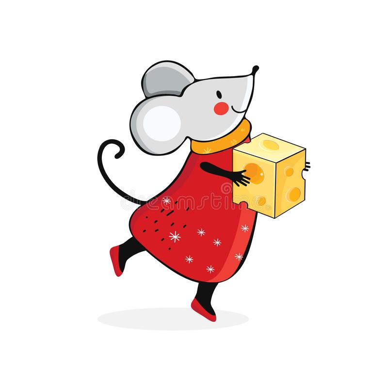 Cute cartoon mouse in vector. Kawaii mouse holds a piece of yellow cheese. Hand drawn funny rat. Chinese symbol 2020 new year. royalty free illustration
