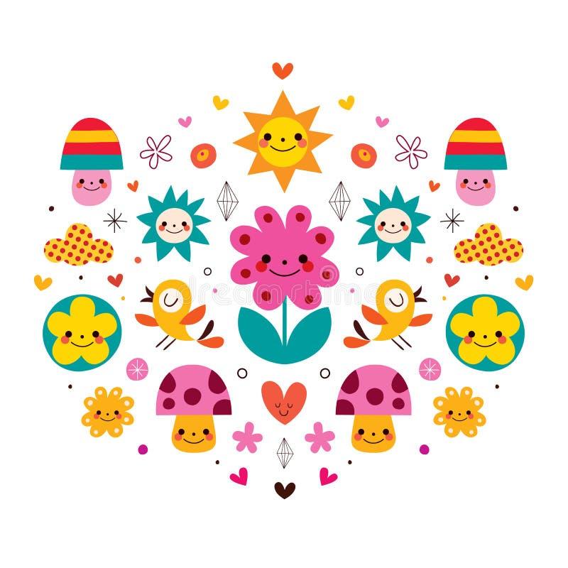 Cute cartoon mushrooms, flowers, hearts & birds nature illustration stock illustration