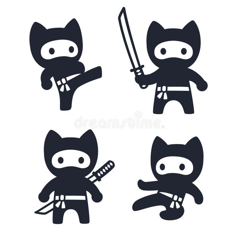 cute cartoon ninja cat set stock vector. illustration of japanese