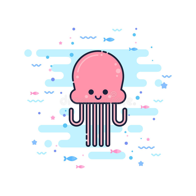 Cute cartoon octopus character royalty free illustration