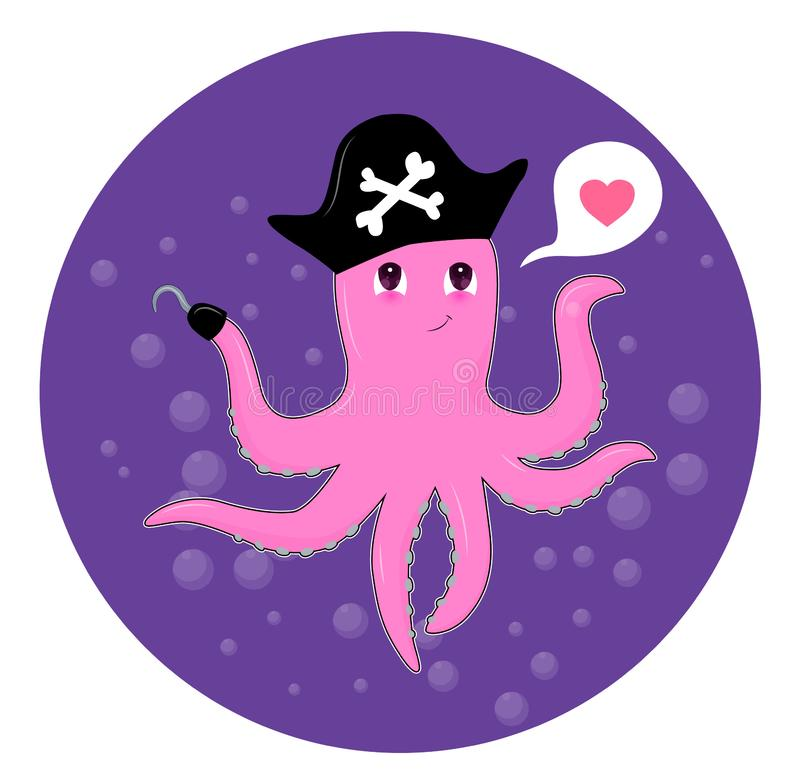 Free Cute Cartoon Octopus Over Water Royalty Free Stock Photo - 137778375