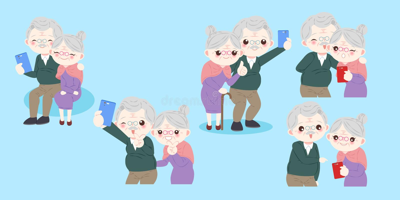 Cute cartoon old couple vector illustration