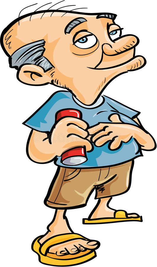 Download Cute Cartoon Old Man Drinking Stock Illustration - Image: 37358277