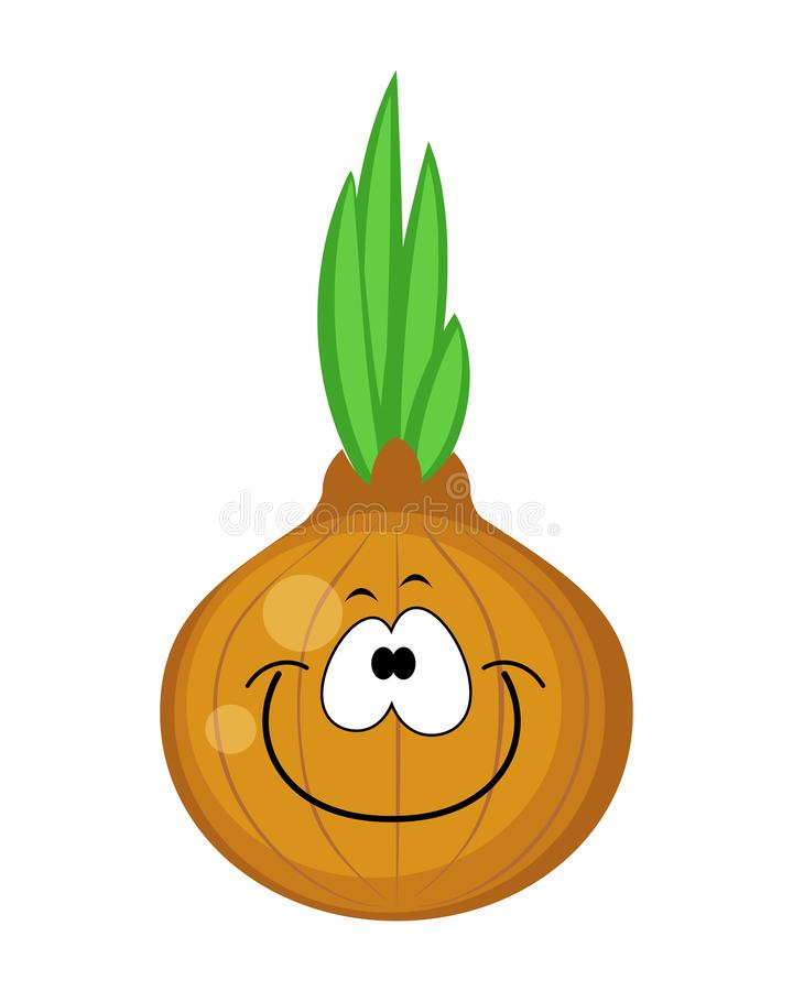 Cute cartoon onion character vector illustration isolated on w vector illustration