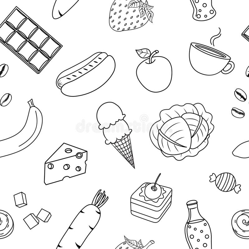 Download Cute Cartoon Outline Food Seamless Pattern Stock Vector