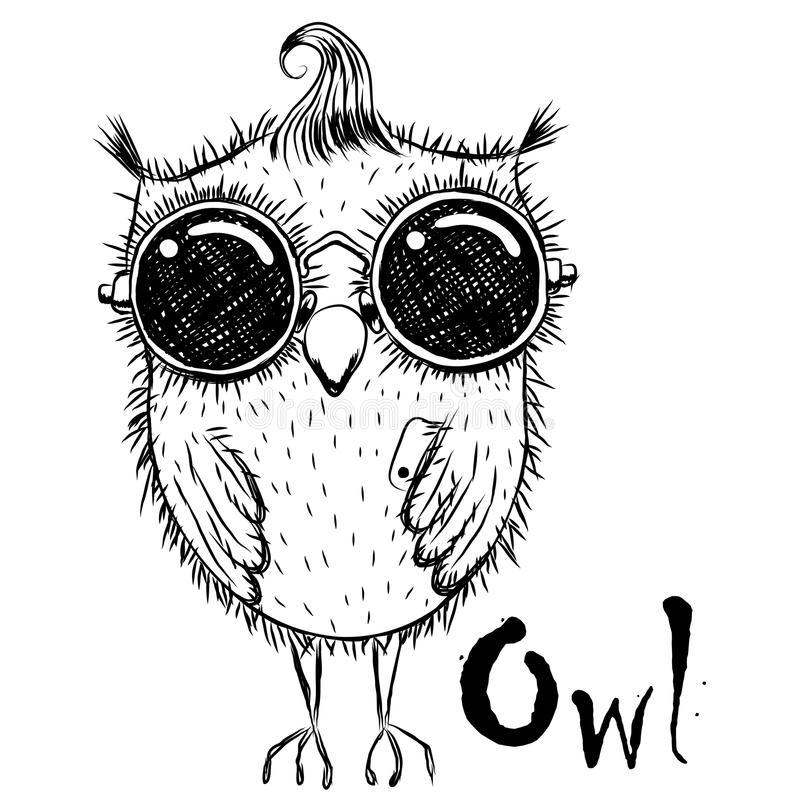 Cute Cartoon Owl. Cute cartoon black and white owl in sunglasses with a phone vector illustration