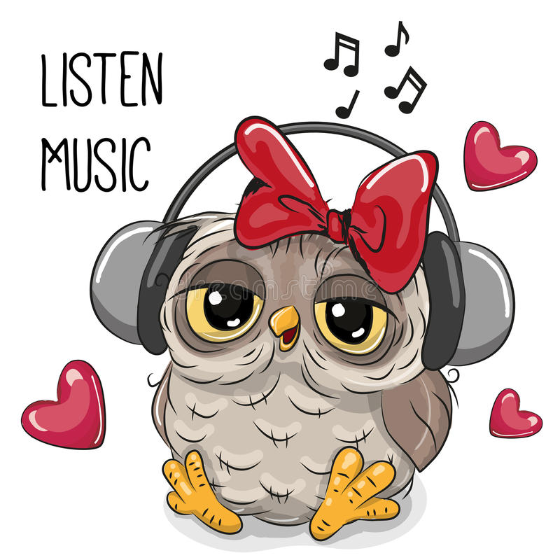 Cute Cartoon Owl Girl With Headphones Stock Vector ...