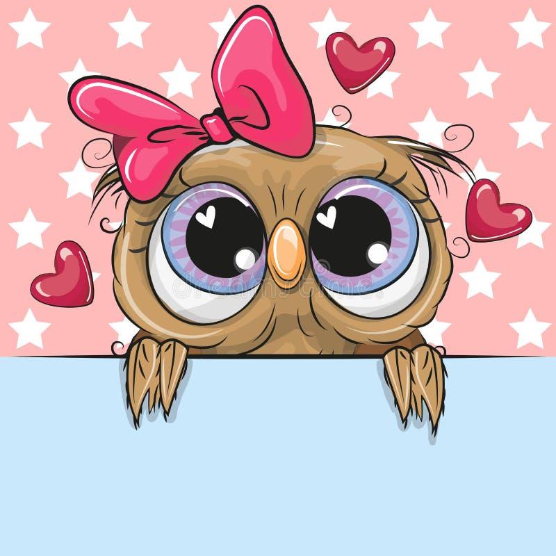 Cute Cartoon Owl Girl is holding a placard on a stars background vector illustration