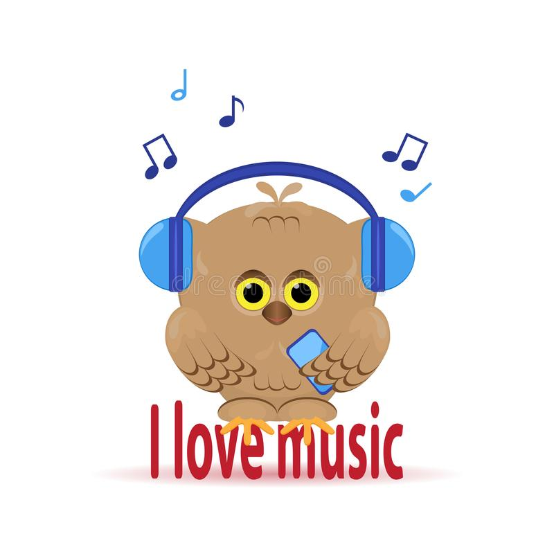 cute cartoon owl with headphones and phone listening to music.Is stock illustration