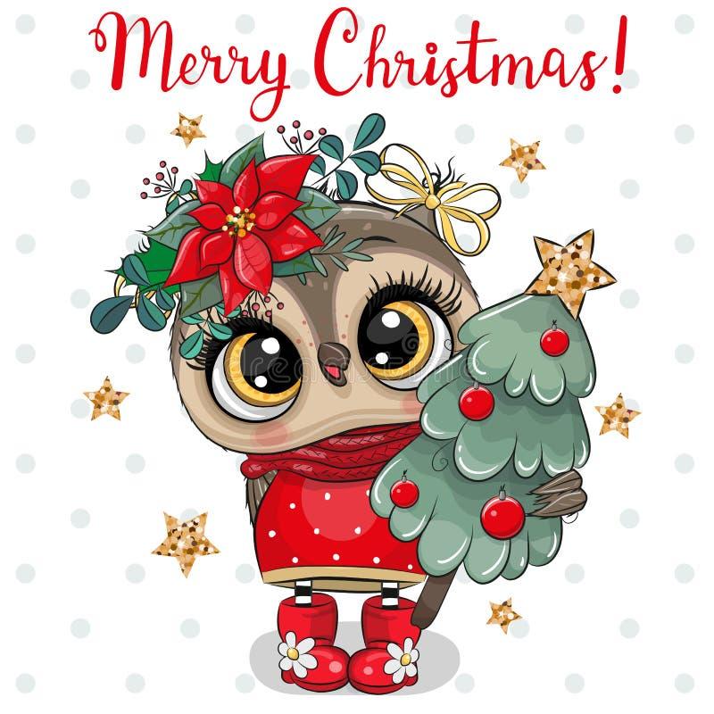 Cute Cartoon Owl med julgran mot vit bakgrund vektor illustrationer