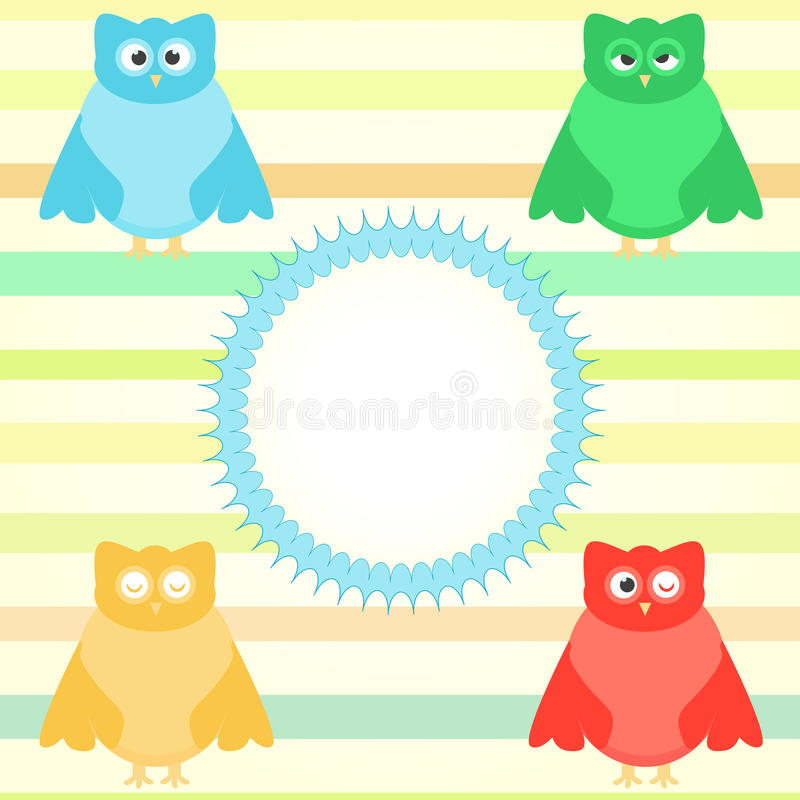 Download Cute Cartoon Owl Set On Colorful Background Stock Vector - Image: 20820953