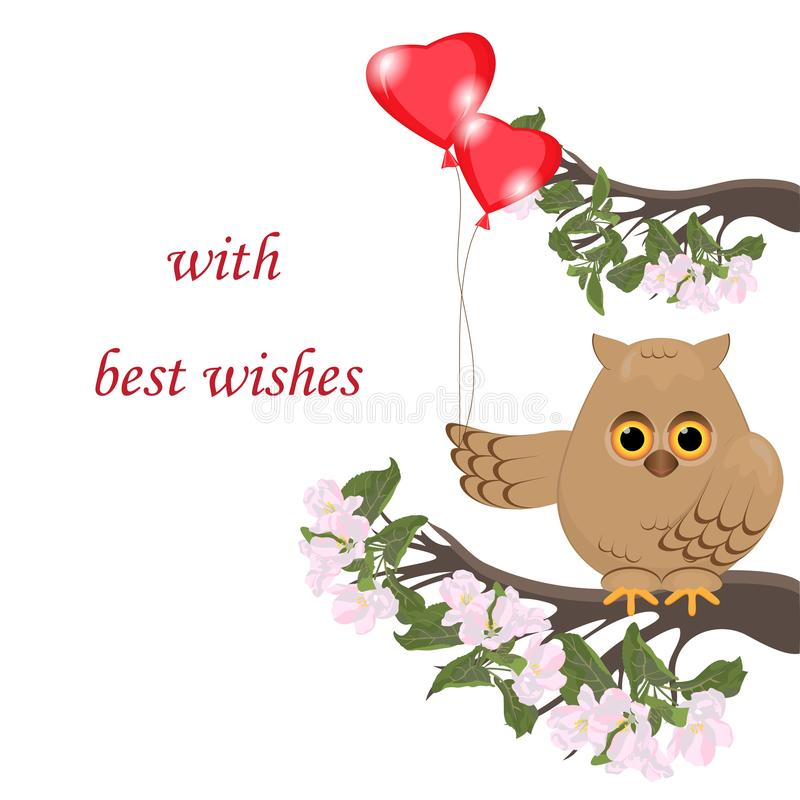 Cute cartoon owl sitting on a branch of apple tree.Blooming blos. Som apple,green foliage.Bird holds in his paw two red balloons in the form of hearts.Place to vector illustration