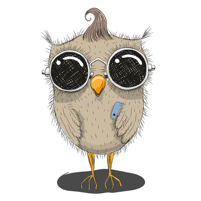 Cute Cartoon Owl. In sunglasses with a phone royalty free illustration