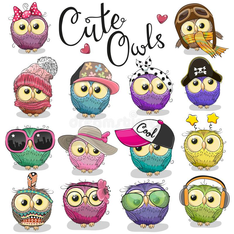 Free Cute Cartoon Owls On A White Background Royalty Free Stock Photo - 114277725