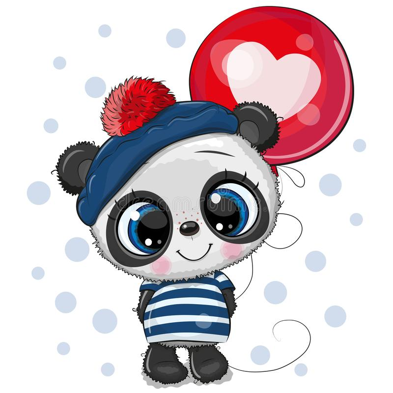 Cute Cartoon Panda with Balloon. Greeting card Cute Cartoon Panda with red balloon vector illustration