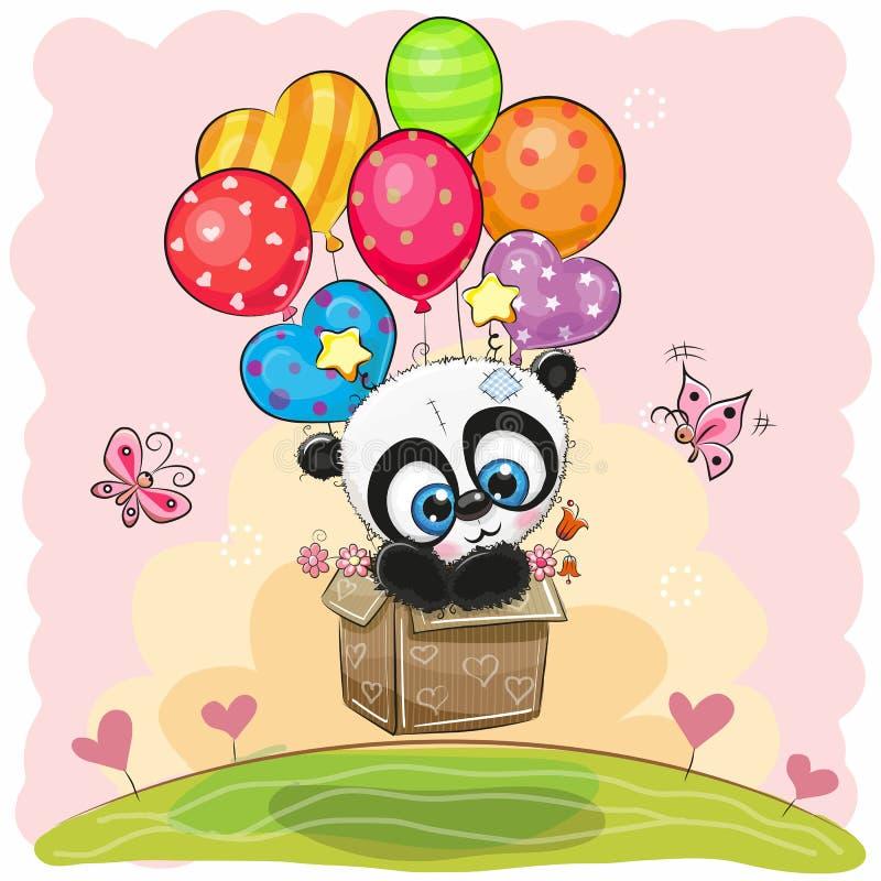 Cute Cartoon Panda with balloons royalty free illustration
