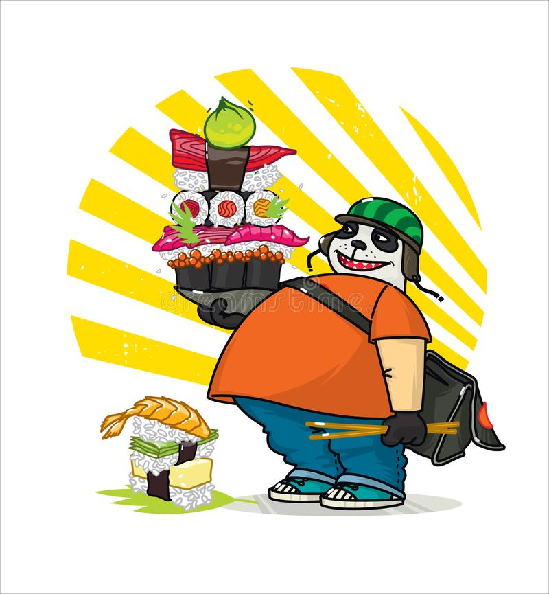 A cute cartoon panda delivers Asian food. Illustration of a courier panda delivering sushi, rolls. The character is isolated on a. White background stock illustration