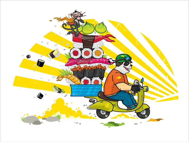 A cute cartoon panda delivers Asian food. Illustration of a courier panda delivering sushi, rolls. Panda is riding a scooter. The. Character is isolated on a vector illustration