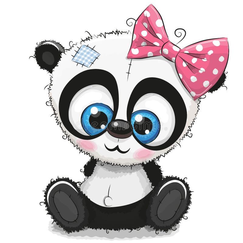 Cute Cartoon Panda girl on a white background vector illustration