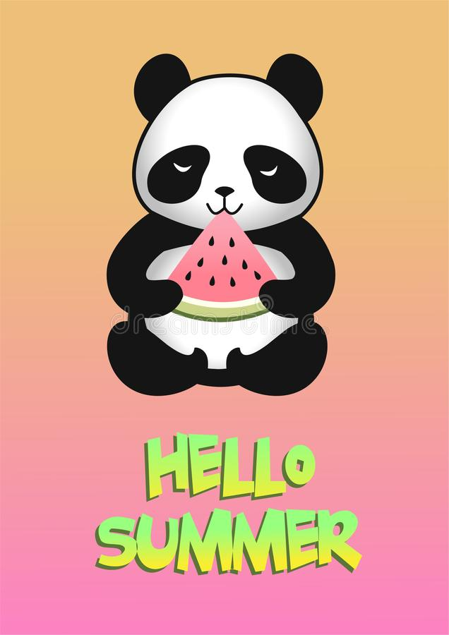 Cute cartoon panda with a slice of watermelon. Vector illustration. royalty free illustration