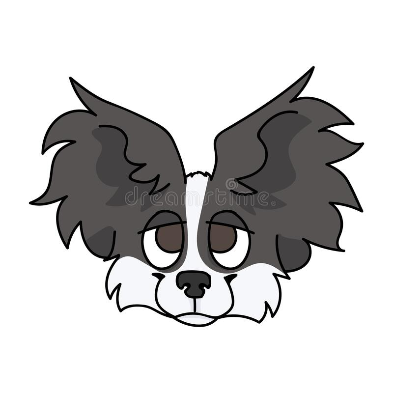 Cute Cartoon Papillon Dog Breed Puppy Face Vector Clipart Pedigree Kennel Doggie Breed For Dog Lovers Purebred Stock Vector Illustration Of Blank Baby 175959479